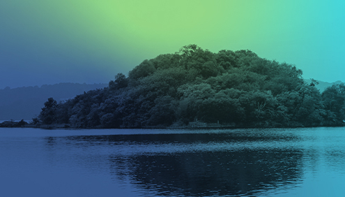The Lake Isle of Innisfree with Blue and Green Filter